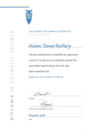 Adam Raftery Cosmetic Science Diploma